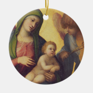 Madonna and Child with Angels c.1510-15 (oil on pa Ceramic Ornament