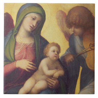 Madonna and Child with Angels c.1510-15 (oil on pa Tile