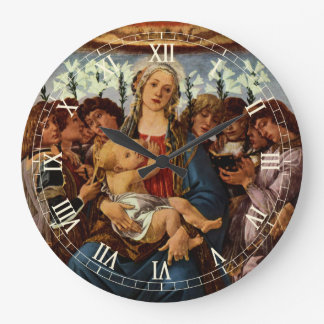 Madonna and Child with Eight Angels by Botticelli Large Clock