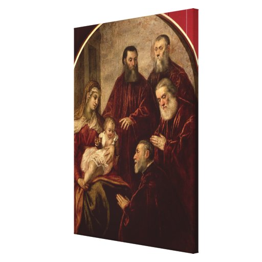 Madonna and child with four Statesmen Canvas Print