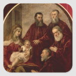 Madonna and child with four Statesmen Square Stickers