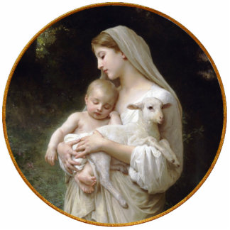 Madonna and Child with Lamb Christmas Ornament
