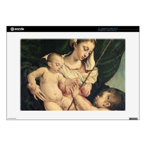 """Madonna and Child with Saint John, c.1570 (oil on 15"""" Laptop Decal"""
