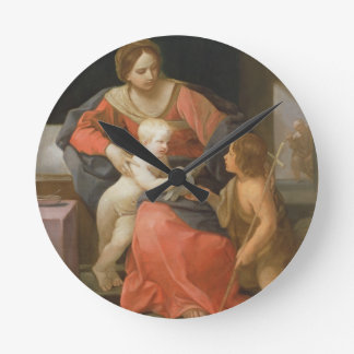 Madonna and Child with Saint John the Baptist Round Clocks