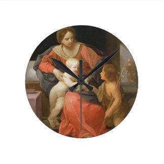 Madonna and Child with Saint John the Baptist Round Clock