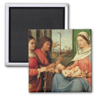 Madonna and Child with Saints 2 2 Inch Square Magnet