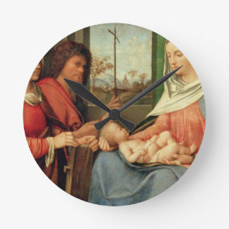 Madonna and Child with Saints 2 Round Clock