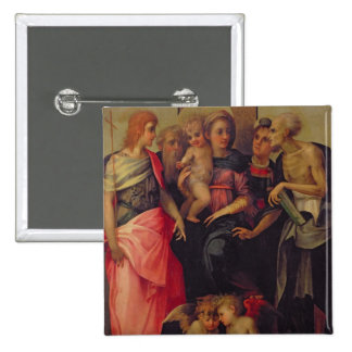 Madonna and Child with Saints, c.1518 (oil on pane 2 Inch Square Button