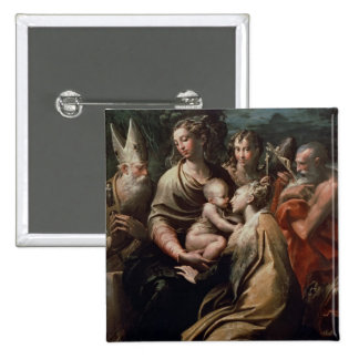 Madonna and Child with Saints, c.1529 (oil on pane 2 Inch Square Button