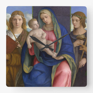 Madonna and Child with Saints Square Wall Clock