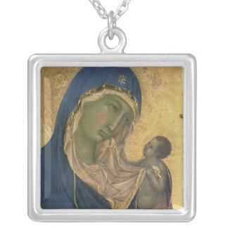 Madonna and Child with SS. Dominic and Aurea Silver Plated Necklace