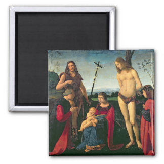 Madonna and Child with SS. John the Baptist and Se 2 Inch Square Magnet