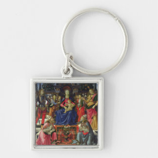 Madonna and Child with SS. Justus, Zenobius and th Silver-Colored Square Keychain