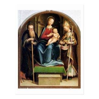 Madonna and Child with St. Anthony Abbot and St. N Postcard
