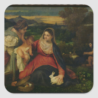 Madonna and Child with St. Catherine  c. 1530 Square Sticker