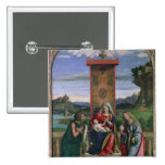 Madonna and Child with St. John the Baptist and Ma 2 Inch Square Button