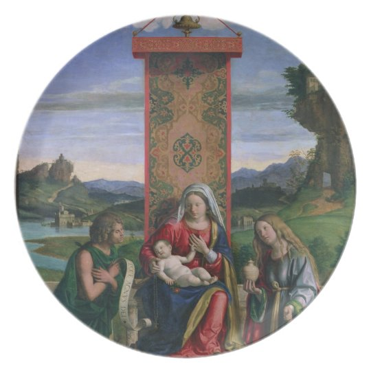 Madonna and Child with St. John the Baptist and Ma Melamine Plate