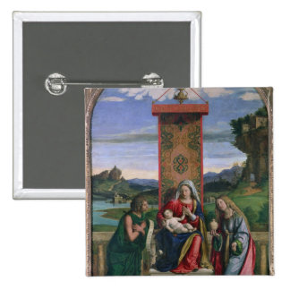 Madonna and Child with St. John the Baptist and Ma Pinback Button