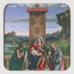 Madonna and Child with St. John the Baptist and Ma Square Sticker