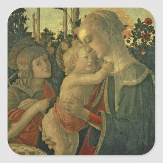 Madonna and Child with St. John the Baptist (oil o Square Sticker