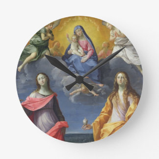 Madonna and Child with St. Lucy and Mary Magdalene Round Clock