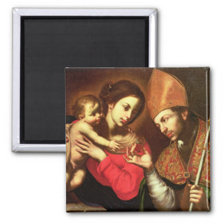 Madonna and Child with St. Zenobius 2 Inch Square Magnet