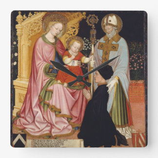 Madonna and Child with the Donor Square Wall Clock
