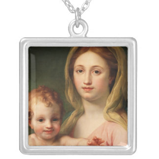 Madonna and Child with Two Angels, 1770-73 Silver Plated Necklace