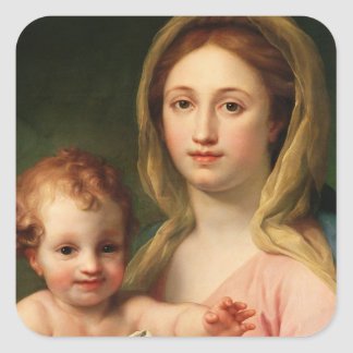 Madonna and Child with Two Angels, 1770-73 Square Sticker