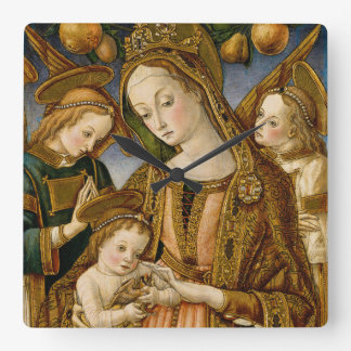 Madonna and Child with Two Angels Square Wall Clock