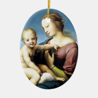 Madonna and Christ Child Sitting Outside Ceramic Ornament