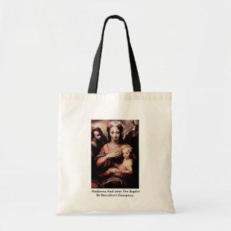 Madonna And John The Baptist By Beccafumi Domenico Canvas Bag