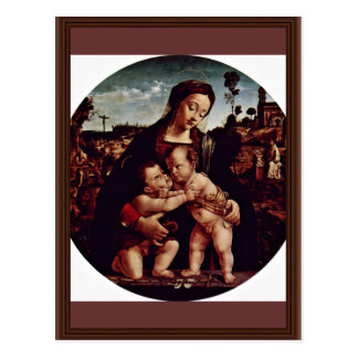 Madonna And St. John The Baptist Tondo By Piero Di Postcard