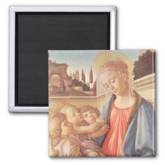 Madonna and two angels by Botticelli 2 Inch Square Magnet