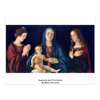 Madonna And Two Saints By Bellini Giovanni Postcard