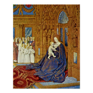 Madonna at portal of a cathedral by Jean Fouquet Poster