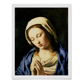Madonna at Prayer (oil on canvas) Posters