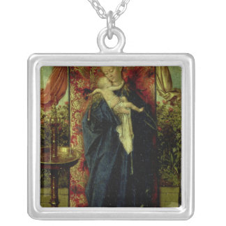 Madonna at the Fountain, 1439 Square Pendant Necklace