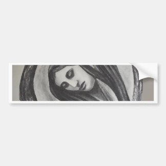Madonna Ave Maria Mary Grey White Charcoal Bumper Sticker