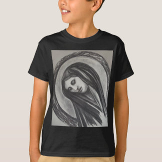 Madonna Ave Maria Mary Grey White Charcoal T-Shirt