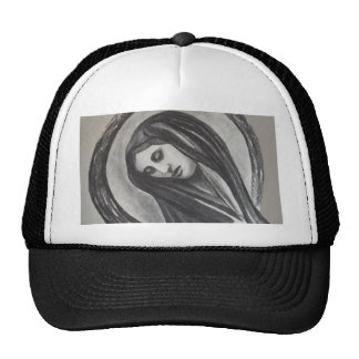 Madonna Ave Maria Mary Grey White Charcoal Trucker Hat