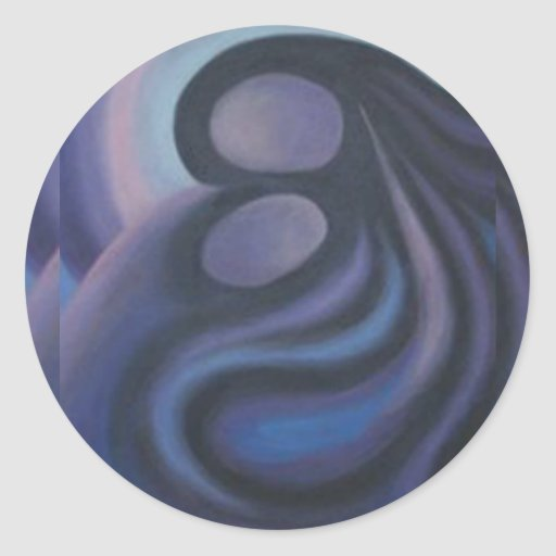 Madonna azul abstracto pegatina redonda