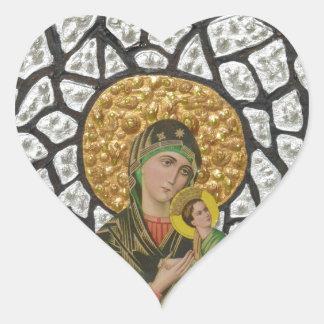 Madonna & Baby Jesus 2 Heart Sticker