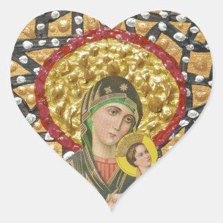 Madonna & Baby Jesus Heart Sticker