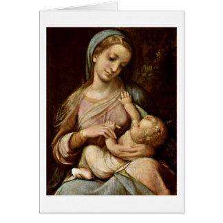 Madonna By Antonio Allegri Da Correggio Cards