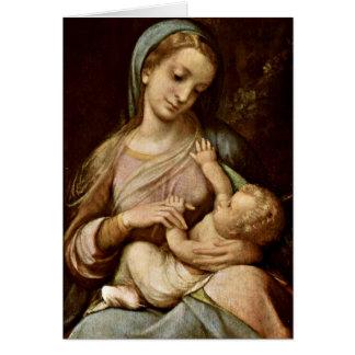 Madonna By Antonio Allegri Da Correggio Card