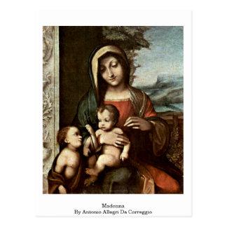 Madonna By Antonio Allegri Da Correggio Post Cards