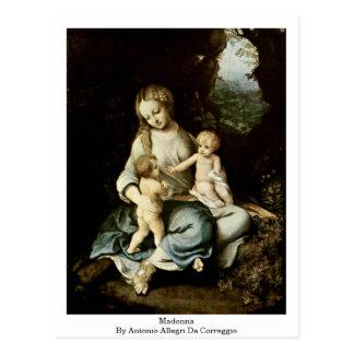 Madonna By Antonio Allegri Da Correggio Post Card