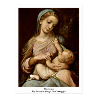 Madonna By Antonio Allegri Da Correggio Postcards