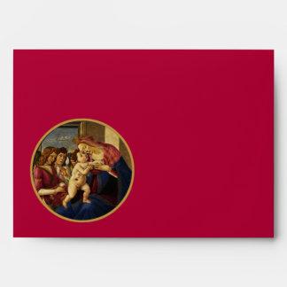 Madonna by Botticelli. Christmas Envelopes